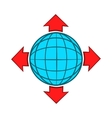 Blue globe and red arrows icon cartoon style vector image vector image