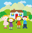 Children on the hill vector image