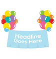 Colorful Balloons With Blank Banner vector image