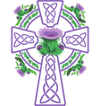 stylized pink Celtic cross framed thistle flowers vector image