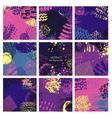 Set of nine abstract backgrounds with hand drawn vector image
