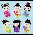cute kawaii kokeshi dolls stickers set vector image