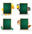 Empty green boards with animals at the back vector image vector image