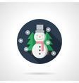 Snowman round flat icon vector image