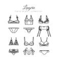 Lingerie set underwear design Outline vector image
