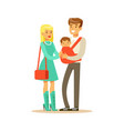 family couple father carrying their baby in a red vector image