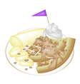 Tradition Waffle with Banana and Whipped Cream vector image