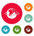 worldwide icons circle set vector image
