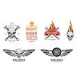 Racing skull emblems set vector image