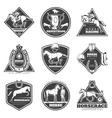 Monochrome Horse Racing Labels Set vector image vector image