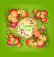 green background with floral frame and vector image