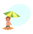 happy little boy hiding from sun under big beach vector image