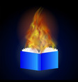 burning blue paper book with fire flame vector image vector image