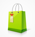 Shopping green paper bag vector image vector image