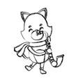 cute cat playing saxophone cartoon vector image