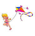 Happy girl is playing with kite vector image