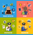 private detective concept icons set vector image