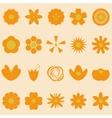 Set of orange flowers on bright background vector image