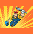 worker plumber superhero flying vector image