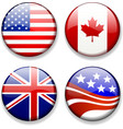 Shiny Flag Badges USA Canada Great Britain UK vector image