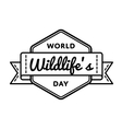 World Wildlifes day greeting emblem vector image