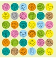 Avatars of hand drawn funny doodle animals vector image