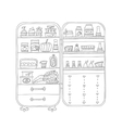 Doodle refrigerator with food drawn by hand vector image