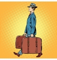 Traveler man with bags vector image