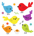 bird icon set cute cartoon colorful character vector image