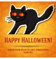 Happy halloween greeting card with black startled vector image
