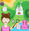 map with a girl backpack and other items of vector image