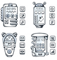 Set of detailed phones of the future with vector image