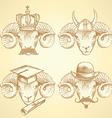 Sketch unusual rams set vector image