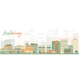 Abstract Anchorage Skyline with Color Buildings vector image