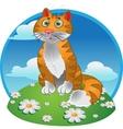 Orange funny sitting cat on color background vector image