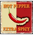 Vintage extra spicy poster chili pepper vector image vector image