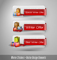 Business winter stickers with gifts design vector image