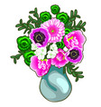 bouquet of pink and white flowers in a vase vector image