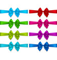 colorful bows set isolated on white background vector image