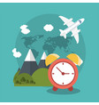 vacations clock mountain plane world vector image