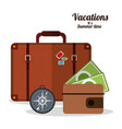 vacations summer time - suitcase wallet and vector image