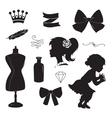 Vintage elements set silhouettes vector image vector image