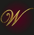 w golden letter vector image