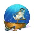 Sunken pirate schooner on sandy bottom of ocean vector image