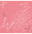 background with flowers and butterflies hand-drawn vector image