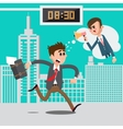 Businessman Late for Work Angry Boss vector image