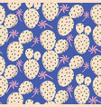 cactuses pink seamless blue pattern vector image
