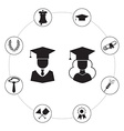 Graduation Icon Set Infographic vector image