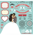 Wedding invitation decor set with Kissing couple vector image