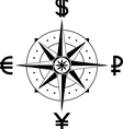 compass of currencies vector image vector image